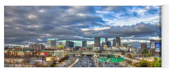 Atlanta Wide Angle Downtown Atlanta Cityscape Skyline Art Yoga Mat