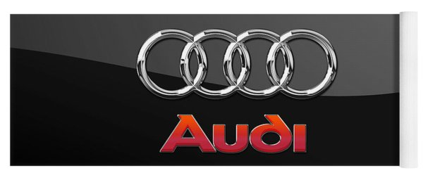 Audi 3 D Badge On Black Yoga Mat