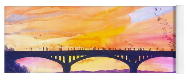 Austin Bats Congress Bridge Sunset Yoga Mat