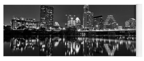 Yoga Mat featuring the photograph Austin Skyline At Night Black And White by Todd Aaron