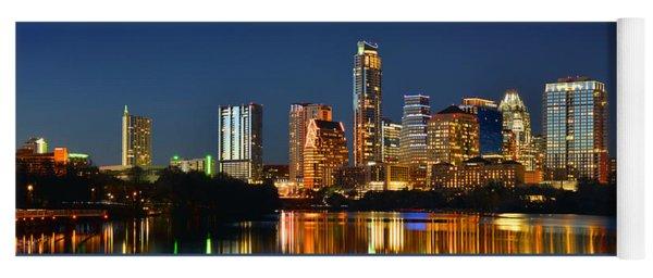 Austin Skyline At Night Color Panorama Texas Yoga Mat