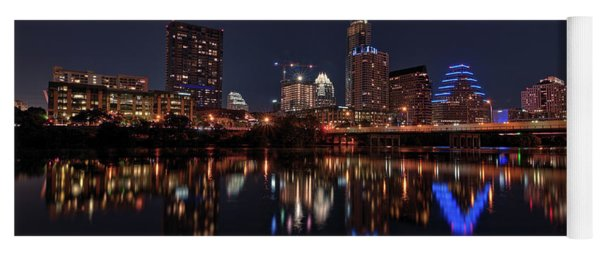 Yoga Mat featuring the photograph Austin Skyline At Night by Todd Aaron