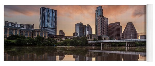 Yoga Mat featuring the photograph Austin Skyline Sunrise Reflection by Todd Aaron