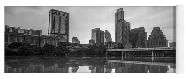 Yoga Mat featuring the photograph Austin Texas Skyline Reflecting In Ladybird Lake Long Exposure by Todd Aaron