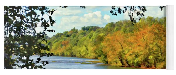 Autumn Along The New River - Bisset Park - Radford Virginia Yoga Mat