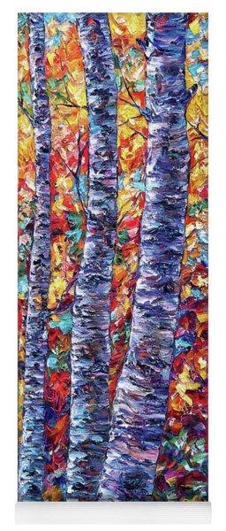 Autumn  Aspen Trees Contemporary Painting  Yoga Mat