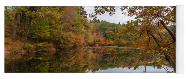 Autumn At Hillside Pond Yoga Mat