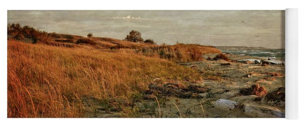 Yoga Mat featuring the photograph Autumn At The Mouth Of The Big Sable by Michelle Calkins
