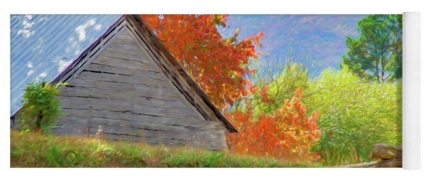 Autumn Barn Digital Watercolor Yoga Mat