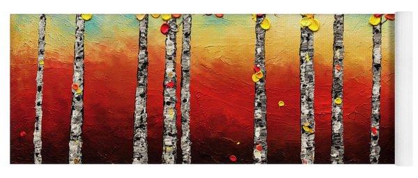 Autumn Birch Trees Yoga Mat