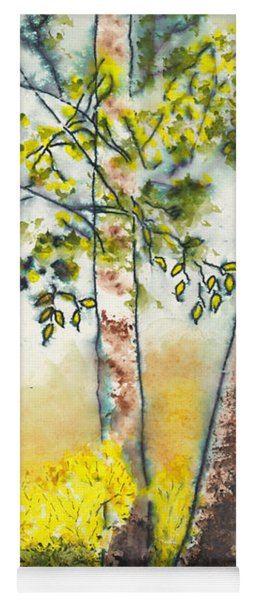 Autumn Birch Trees Yoga Mat