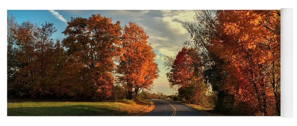 Yoga Mat featuring the photograph Autumn Drive by Kendall McKernon