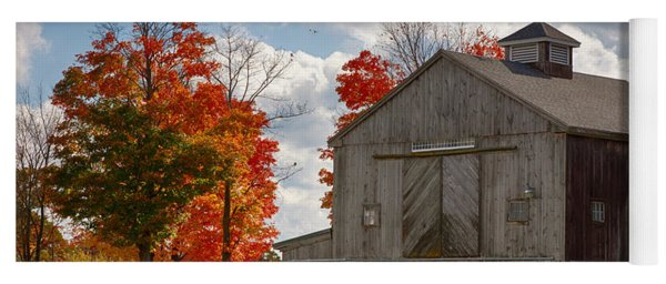 Autumn Fall Colors Turn Next To Grey Barn Yoga Mat