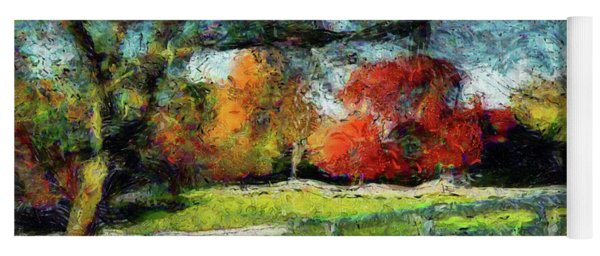 Autumn Field On The Farm Yoga Mat