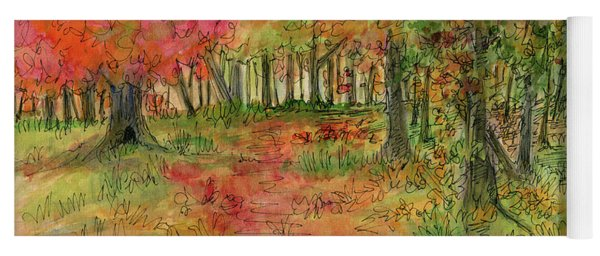 Autumn Forest Watercolor Illustration Yoga Mat