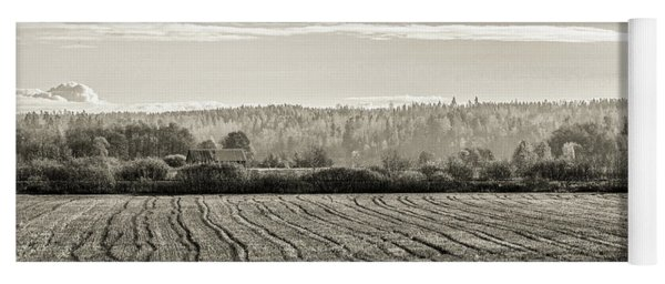 Autumn In The Countryside Bw Yoga Mat