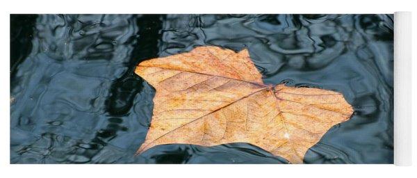 Autumn Leaf Floating On Water Yoga Mat