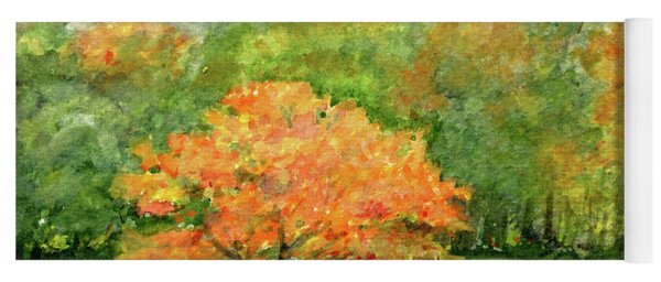 Autumn Maple With Horses Grazing Yoga Mat