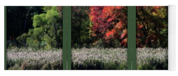 Autumn Marsh Through A Window Yoga Mat