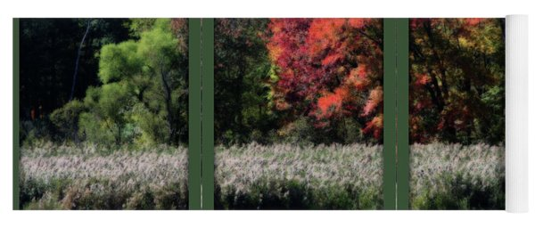 Autumn Marsh Through A Window Yoga Mat