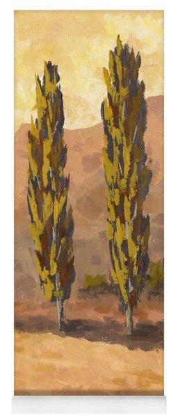 Autumn Poplars Yoga Mat