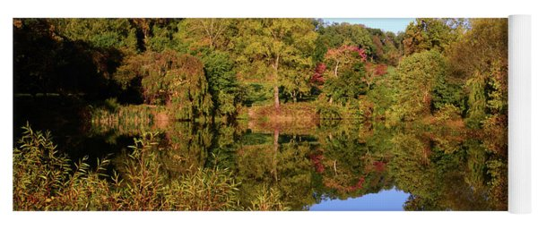 Yoga Mat featuring the photograph Autumn Reflection by Angie Tirado