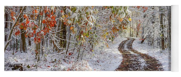 Autumn Snow Country Road Yoga Mat
