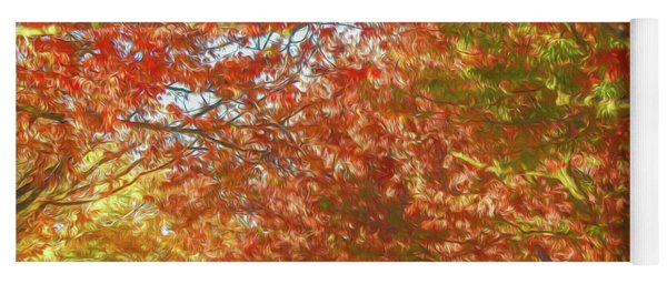 Autumn Trees Digital Watercolor Yoga Mat