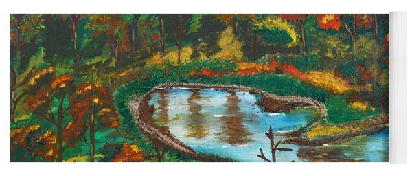 Yoga Mat featuring the painting Autumn Trees In Virginia by Jimmy Clark
