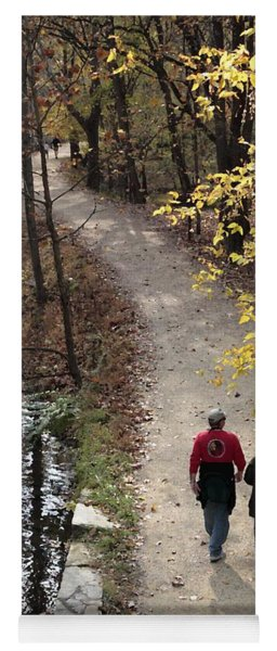 Autumn Walk On The C And O Canal Towpath With Oil Painting Effect Yoga Mat