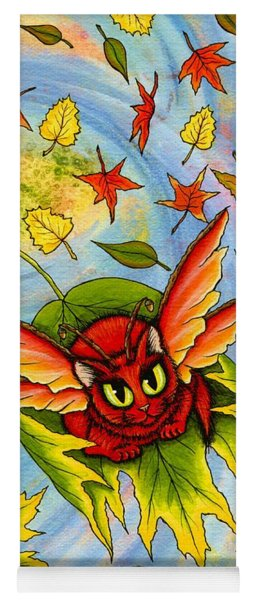 Autumn Winds Fairy Cat Yoga Mat