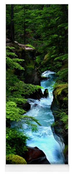 Avalanche Creek Waterfalls Yoga Mat