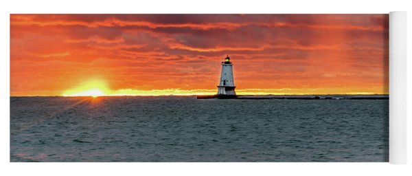 Awesome Sunset With Lighthouse  Yoga Mat