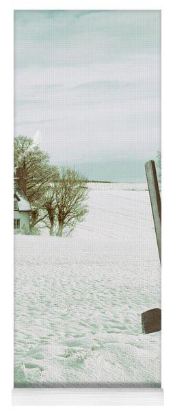 Axe In Snow Scene Yoga Mat