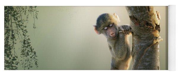 Baby Baboon In Tree Yoga Mat