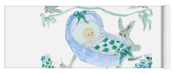 Yoga Mat featuring the painting Baby Boy With Bunny And Birds by Claire Bull