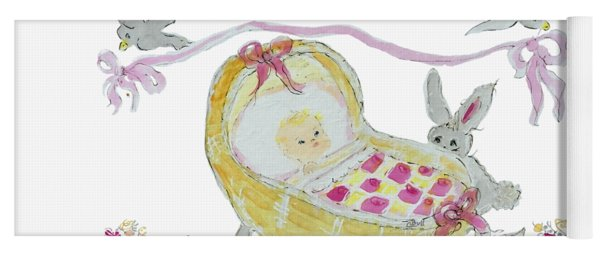 Yoga Mat featuring the painting Baby Girl With Bunny And Birds by Claire Bull