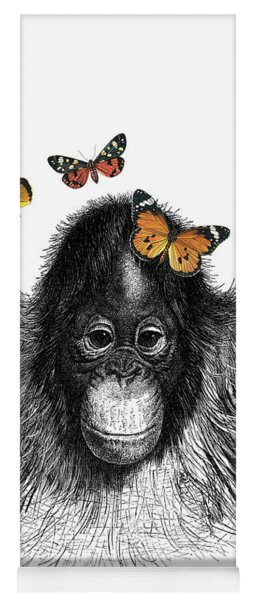 Baby Monkey With Orange Butterflies Yoga Mat