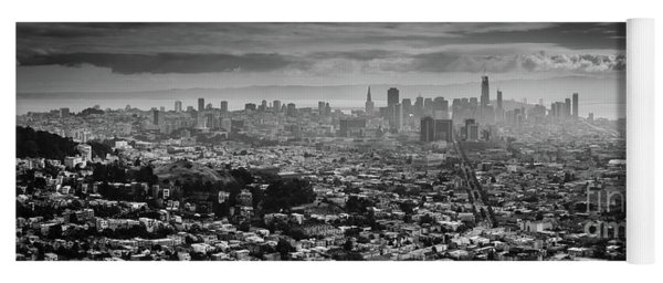 Back And White View Of Downtown San Francisco In A Foggy Day Yoga Mat