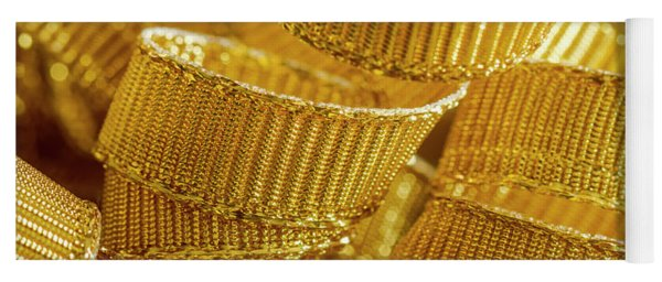 Background Of Gold Ribbon Strands Yoga Mat