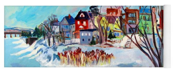 Backside Of Schenectady Stockade In February Yoga Mat