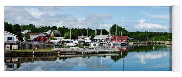 Baddeck Harbor Panorama Yoga Mat