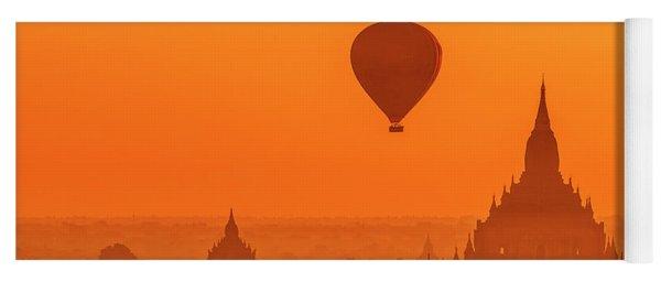 Yoga Mat featuring the photograph Bagan Pagodas And Hot Air Balloon by Pradeep Raja Prints