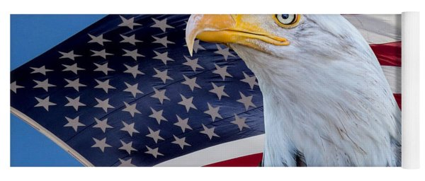 Bald Eagle And American Flag Yoga Mat