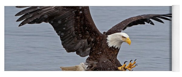 Bald Eagle Diving For Fish In Falling Snow Yoga Mat