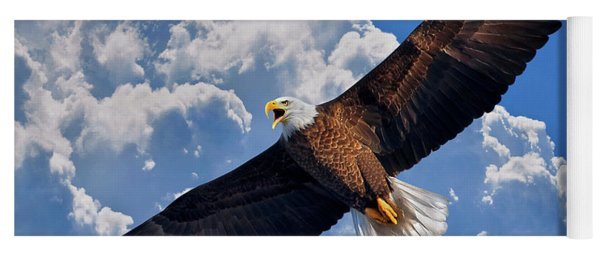 Bald Eagle In Flight Calling Out Yoga Mat