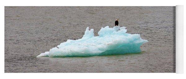Bald Eagle On Blue Glacial Ice Yoga Mat