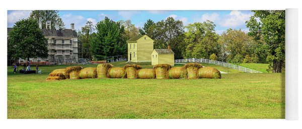 Baled Hay In A Grassy Field Yoga Mat