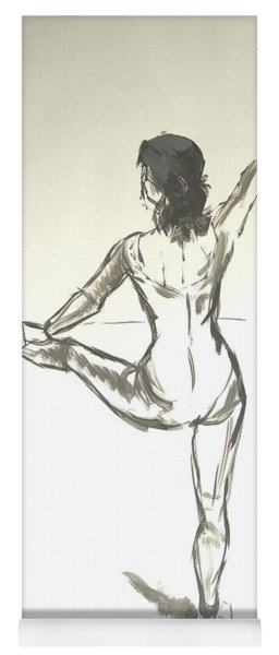 Ballet Dancer With Left Leg On Bar Yoga Mat
