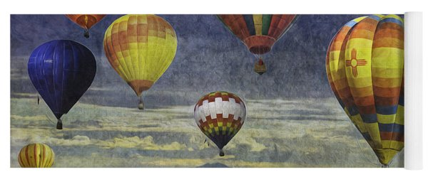 Yoga Mat featuring the photograph Balloons Over Sister Mountains by Melinda Ledsome